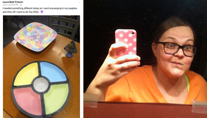 The picture of me by myself is recent; I took it a couple weeks ago when I walked past the mirror and had to do a double take because I finally felt like I looked like me again. The plate and chip/dip platter is the one I included in my entry and was from my most recent visit.