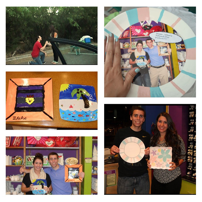 (Bottom left, clockwise): First Date at As You Wish Pottery; firs plates from that special date; a Wedding Proposal; Plates used for the proposal, the happy couple with their plates at As You Wish!