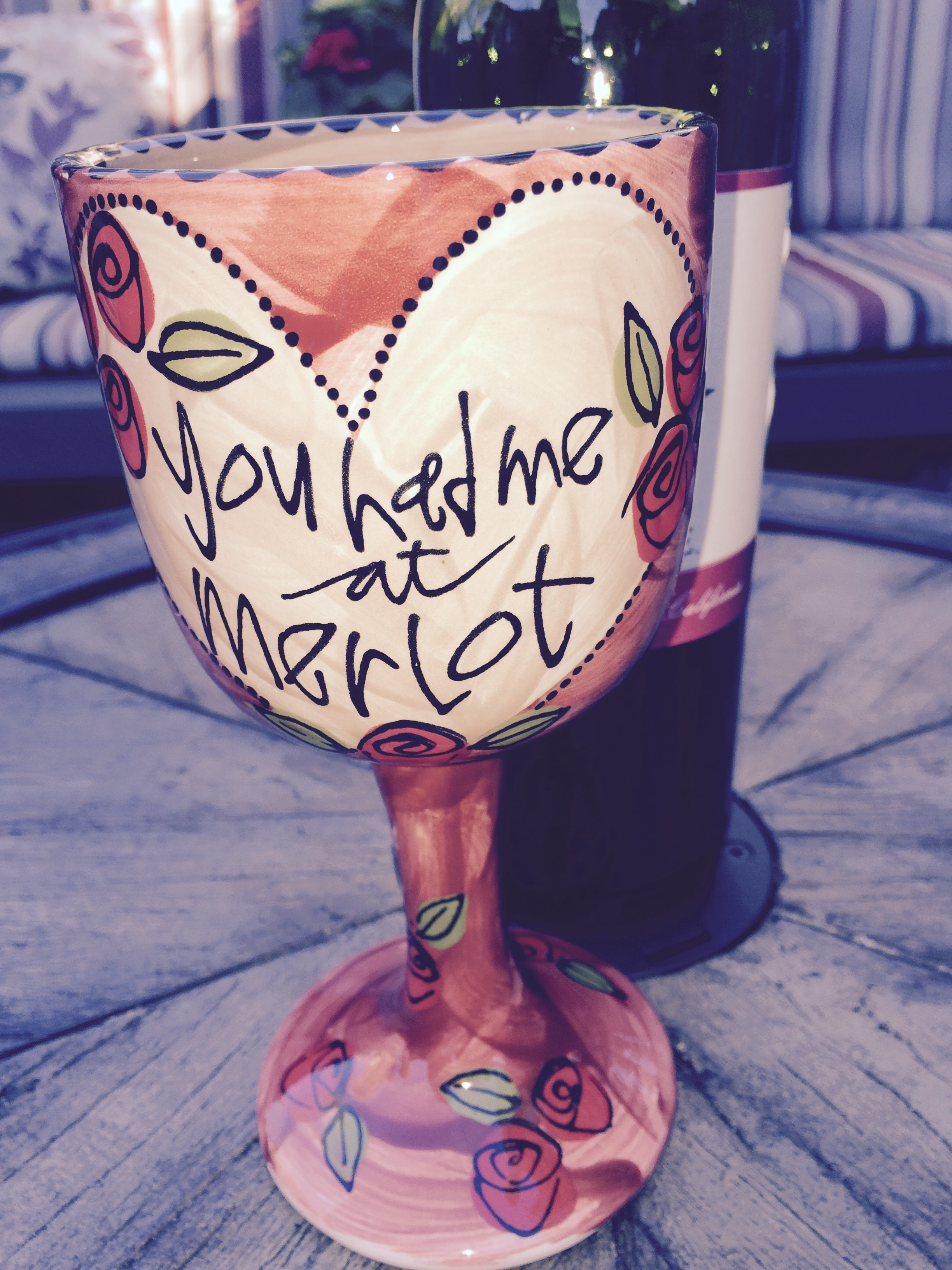 You Had Me At Merlot Hand Painted Wine Goblets As You Wish Pottery