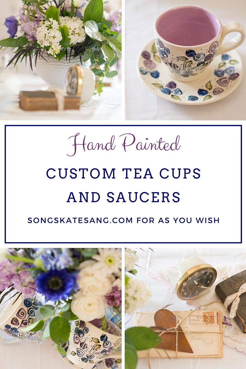 Hand Painted Custom Tea Cups and Saucers