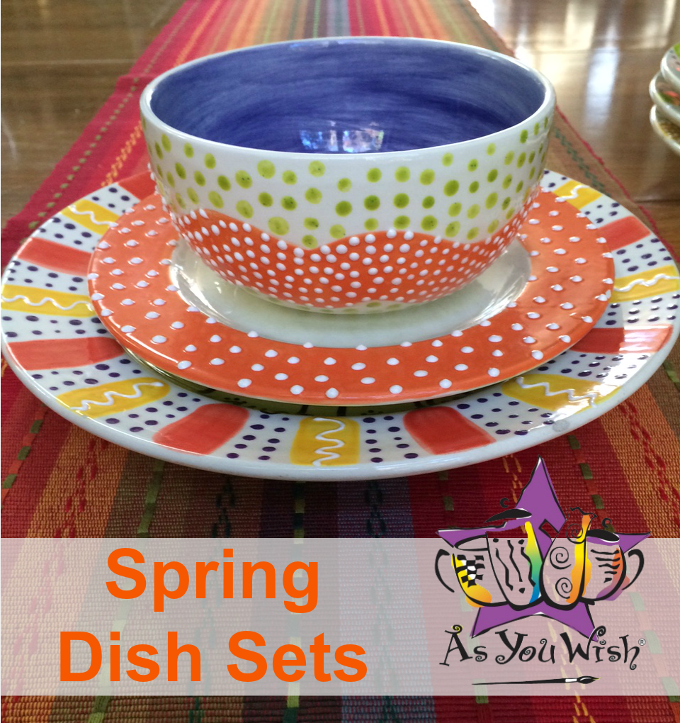 SpringDishes & Easy Hand Painted Pottery Spring Dish Set | As You Wish Pottery